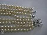 Calor de perola  4 fios desmontavel fecho em platina com diamantes